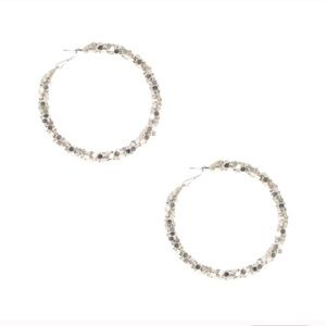 Silver hexagon hoop earrings